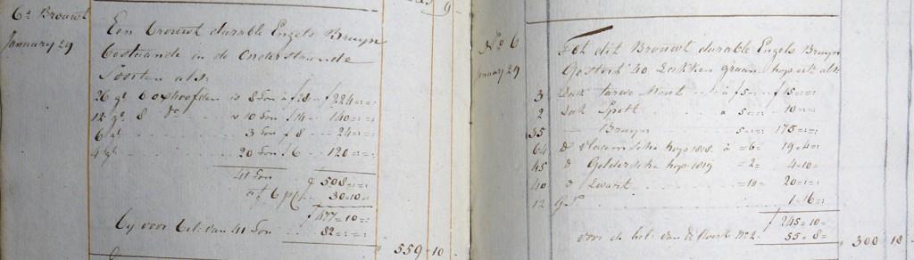 Durable Engels bruyn - Stort- en peilboeken brouwerij 't Scheepje Haarlem 1820