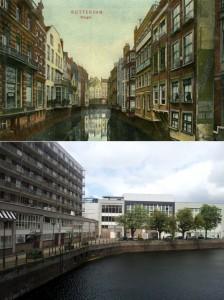 De Steiger in Rotterdam, toen (foto Stadsarchief Rotterdam) en nu (foto auteur)