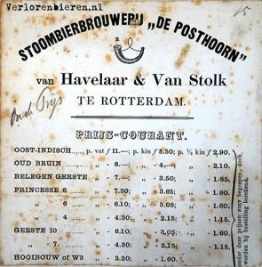 Prijscourant Posthoorn Rotterdam 1873