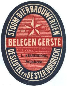 Etiket De Sleutel en De Ster Dordrecht-Zwijndrecht - Bron: bieretiketten.nl