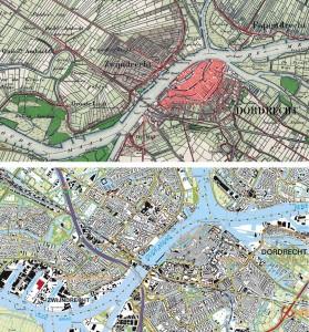Zwijndrecht ca. 1900 en in 2015 - Bron: topotijdreis.nl