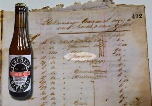 Brouwerij De Ster, Zwijndrecht - Rekening Courant voor 1878, met daarop 'princesse'. Stadsarchief Amsterdam. Fles: eigen brouwsel.