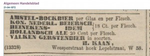 Algemeen Handelsblad 21-4-1872 - First mention of Amstel Bock