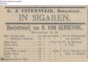 Apeldoornsche courant 20-8-1881 - First mention of Heineken pilsener