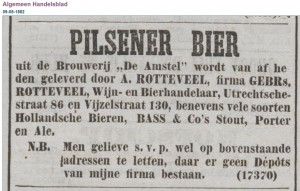 Algemeen Handelsblad 9-5-1882 - First mention of Amstel Pilsener