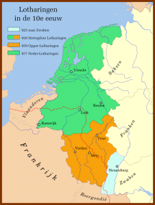 Lotharingen in de tiende eeuw. In rood de taalgrens. Bron: Wikipedia.