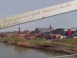 Gezicht op het dorp Schoonaarde aan de Schelde, met de schoorsteen van de brouwerij