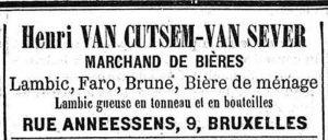 Deze bierhandelaar verkocht in 1893 geuze op vat en op fles. Bron: Le Peuple 22-1-1893.