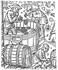 Ooit waren Leuven en Hoegaarden bekend om hun wijn. Bron: Calendrier des Bergers, Troyes 1529