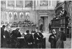 Het Belgische parlement in de jaren 1880, toen de nieuwe bierwet werd aangenomen die voortaan de accijns baseerde op de gebruikte hoeveelheid mout. Bron: Wikimedia Commons.