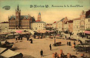 De Grote Markt in Sint-Niklaas, waar de garentwijnderij stond die zijn naam aan het bier drijdraad gaf. Bron: beeldbank Sint-Niklaas.