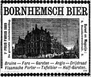 Advertentie van brouwerij Van Velsen te Bornem, die naast 'Vlaamsche Porter' ook drijdraad maakte. Handelsblad-28-3-1890.