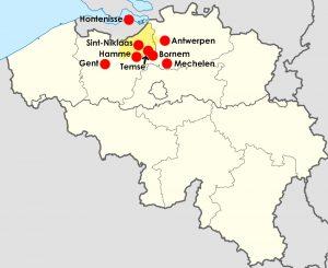 Kaart met plaatsen genoemd in dit artikel. In geel is de ligging van het Land van Waas aangegeven.