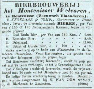 Driedraad te koop bij brouwerij Het Hontenisser Welvaren in Zeeuws-Vlaanderen, NRC 2-7-1850.